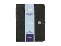 Officeworks J.Burrows A5 Flat Compendium Elastic Strap Closure Black