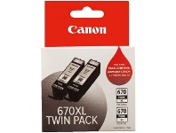 Officeworks Canon 670XL Ink Cartridge Twin Pack Black