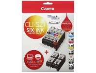 Officeworks Canon CLI 521 and PGI 520 Ink Cartridge 6 Pack
