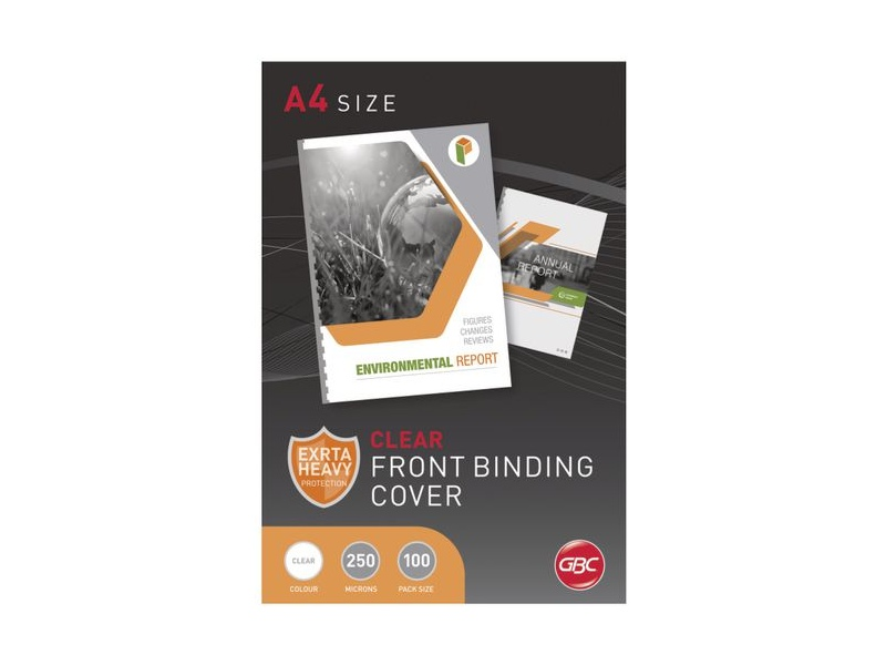 GBC A4 Binding Covers 250 Micron Clear 100 Pack