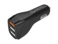 Officeworks Comsol 3 Port USB Car Charger with QC3.0 30W Black