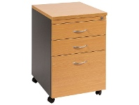 Officeworks Velocity 3 Drawer Pedestal Golden Beech and Ironstone Grey