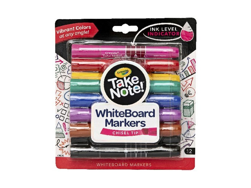 Crayola Take Note Whiteboard Markers Chisel Assorted 12 Pack