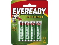 Officeworks Eveready Rechargeable AA Batteries 4 Pack