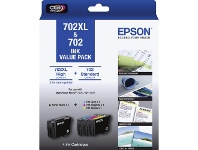 Officeworks Epson 702 and 702XL 4 Colour Ink Cartridge Value Pack