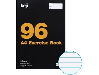 Officeworks Keji A4 55gsm 8mm Ruled Exercise Book 96 Page