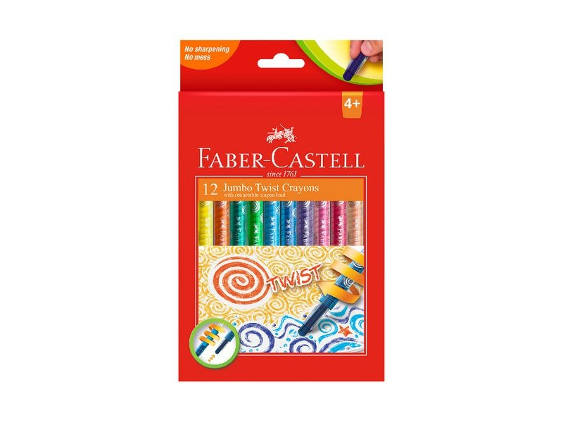 Faber-Castell Jumbo Twistable Crayons 12 Pack Assorted