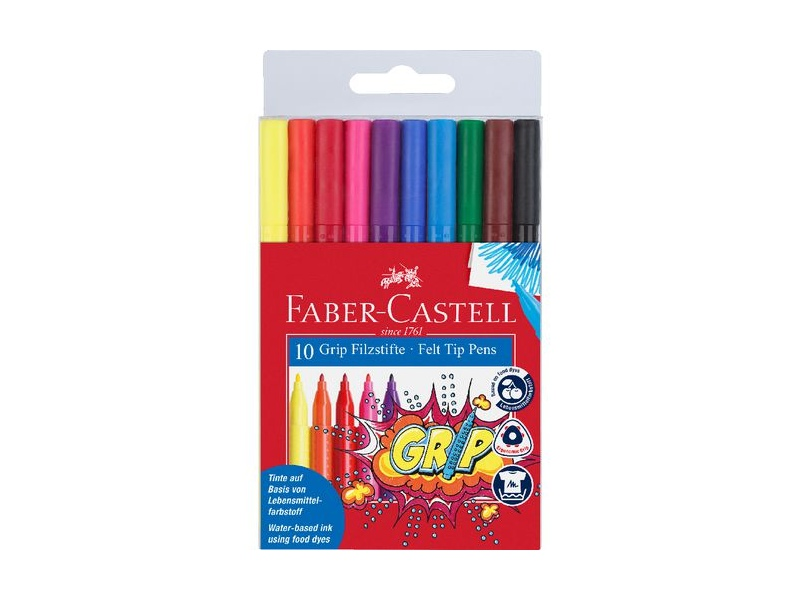 Faber-Castell Grip Triangular Coloured Markers 10 Pack