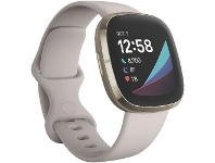Officeworks Fitbit Sense Smart Fitness Watch White and Gold