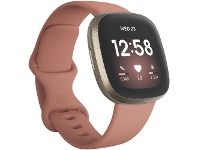 Officeworks Fitbit Versa 3 Smart Fitness Watch Pink and Gold
