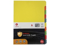 Officeworks GBC A4 10 Tab Dividers Assorted