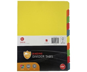 GBC A4 10 Tab Dividers Assorted