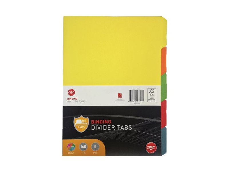 GBC A4 5 Tab Dividers Assorted
