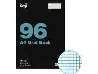 Officeworks Keji A4 55gsm 5mm Grid Book 96 Page