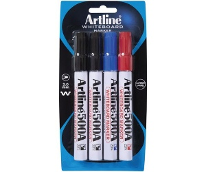 Artline 500A Whiteboard Markers Bullet Assorted 4 Pack