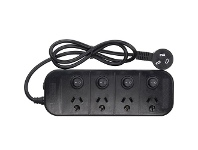 Officeworks Jackson 4 Outlet Switched Powerboard Surge Protection Black
