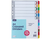 Officeworks J.Burrows A4 Financial Year Tab Dividers Paper 12 Pack