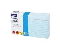 Officeworks J.Burrows Index Cards Ruled 127 x 76mm Blue 100 Pack