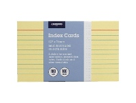 Officeworks J.Burrows Index Cards Ruled 127 x 76mm Yellow 100 Pack