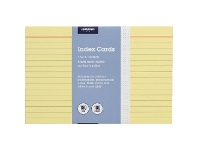 Officeworks J.Burrows Index Cards Ruled 152 x 102mm Yellow 100 Pack