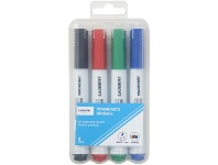 Officeworks J.Burrows Whiteboard Markers Bullet Assorted 4 Pack
