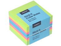 Officeworks J.Burrows Stick-It Cube Notes 50x50mm Green/Yellow/Pink/Blue