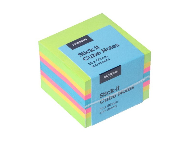 J.Burrows Stick-It Cube Notes 50x50mm Green/Yellow/Pink/Blue