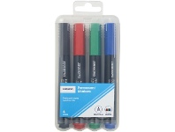 Officeworks J.Burrows Permanent Markers Bullet Assorted 4 Pack