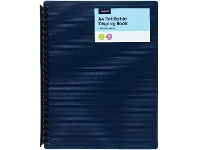 Officeworks J.Burrows 20 Pocket Refillable Display Book Navy