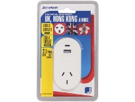 Officeworks Jackson Outbound UK Travel Adaptor with USB Ports