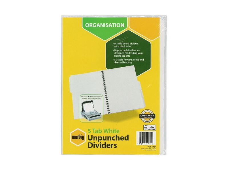 Marbig 5 Tab Unpunched Manila Dividers White