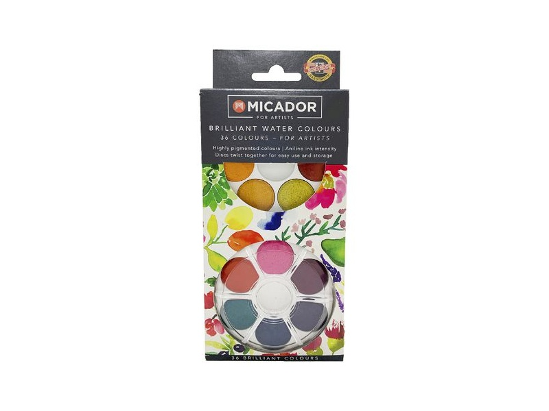 Micador for Artists Brilliant Watercolour Disc 36 Pack
