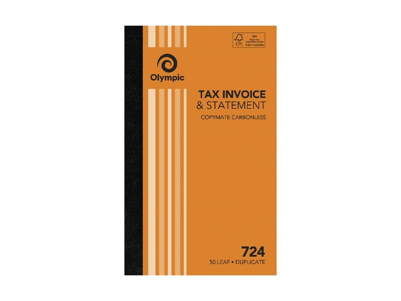 Olympic No.724 Carbonless Duplicate Invoice/Statement Book