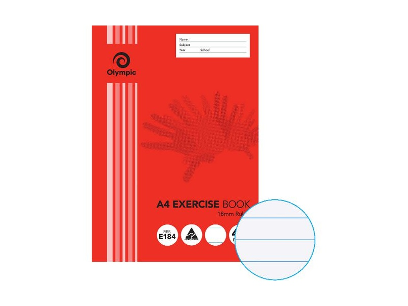 Olympic A4 55gsm 18mm Ruled Exercise Book 48 Page