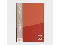 Officeworks Otto A5 Day to Page 2022 2-Tone Colourblock Diary Coral