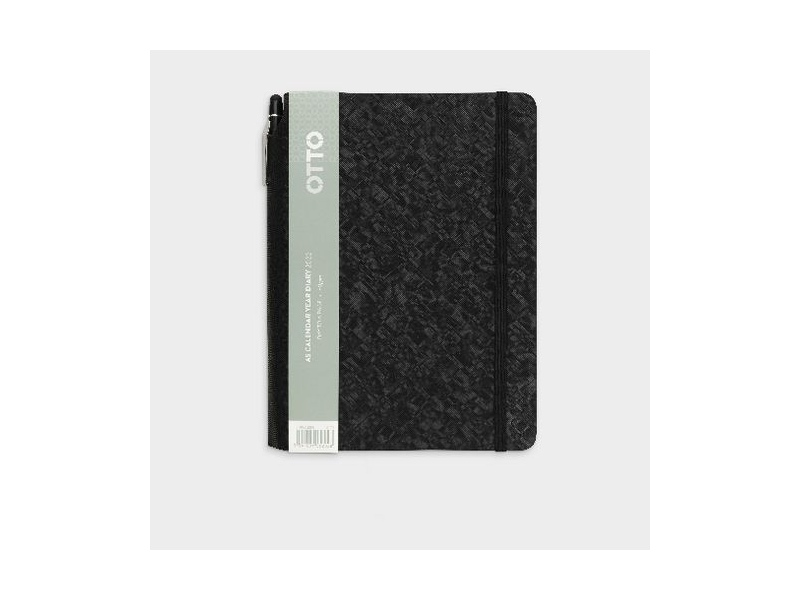 Otto A5 Day to Page 2022 PU Diary with Pen Black