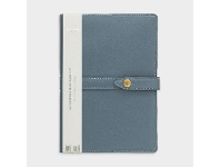Officeworks Otto A5 Day to Page 2022 Button Leather Diary Petrol Blue