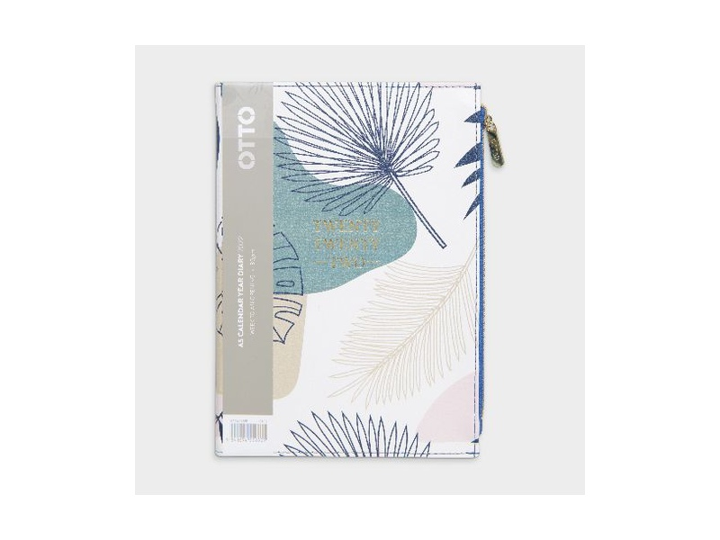 Otto A5 Week to View 2022 PU Zip Pocket Diary Palm Tree