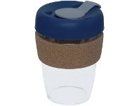 Officeworks Otto Glass Coffee Cup 350mL Navy