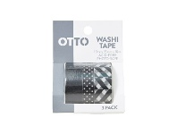 Officeworks Otto Washi Tape Black and White 3 Pack