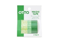 Officeworks Otto Washi Tape Green 3 Pack