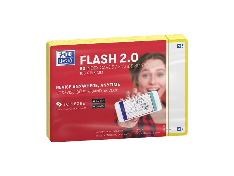 Oxford Flash 2.0 Index Cards Blank 105 x 148mm Yellow 80 Pack