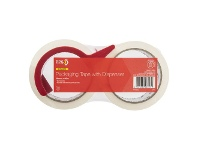 Officeworks PPS Standard 48mm x 50m Packaging Tape with Dispenser 2 Pack