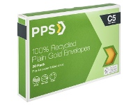 Officeworks PPS Recycled PPS C5 Plain Faced Gold 100% Recycled Envelopes 50 Pack