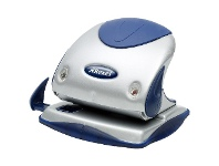 Officeworks Rexel 15 Sheet Hole Punch Small Silver and Blue