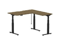 Stilford S2 Electric Corner Workstation 1500mm Black/Walnut