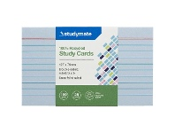Officeworks Studymate Study Cards Ruled 127 x 76mm Blue 25 Pack