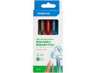 Officeworks Studymate Recycled PET Ballpoint Pens 5 Pack Assorted