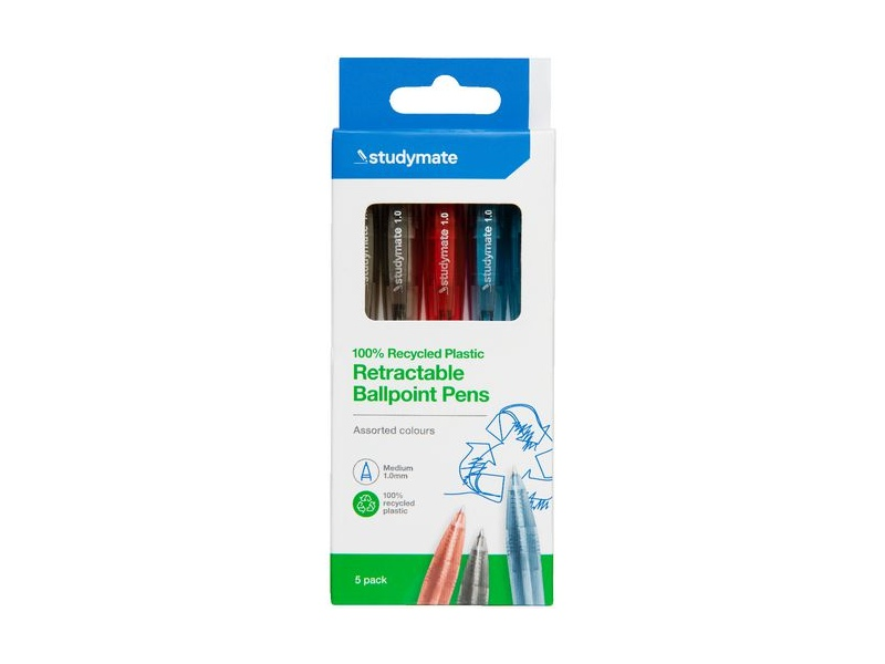 Studymate Recycled PET Ballpoint Pens 5 Pack Assorted