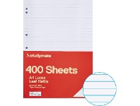Officeworks 400 Pack Studymate A4 70gsm 8mm Ruled Loose Leaf Refills